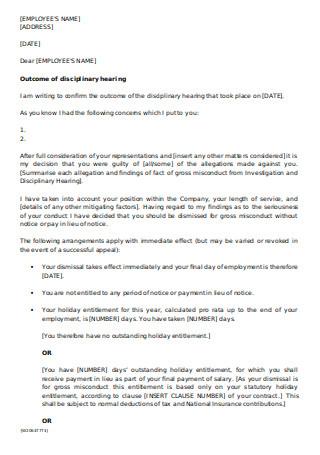 Disciplinary Dismissal Letter