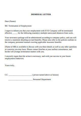 Dismissal Letter in PDF