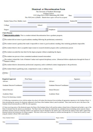 Dismissal or Discontinuation Form