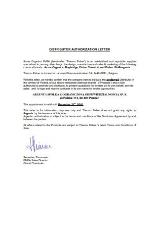 Distributor Authorization Letter
