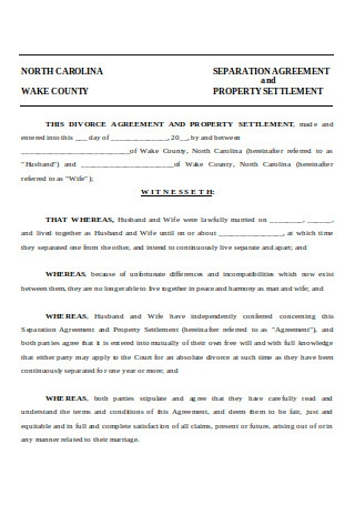 Divorce Agreement and Property Settlement