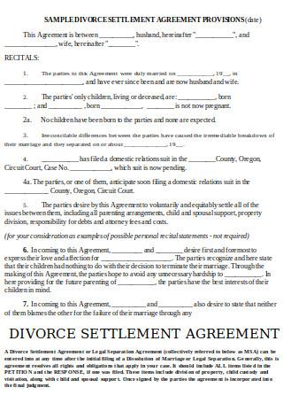 Divorce Settlement Agreement Provisions