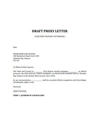 Draft Proxy Letter