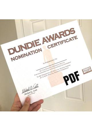 Dundie Award Certificate