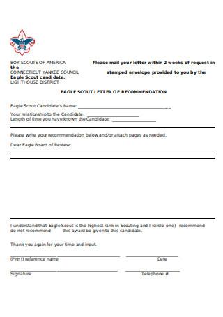 Eagle Letter of Recommendation