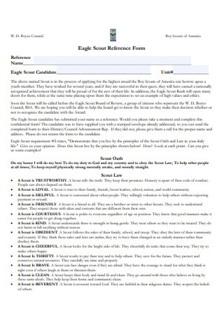 Eagle Scout Reference Form