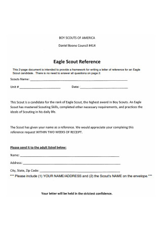 Eagle Scout Reference Letter Form
