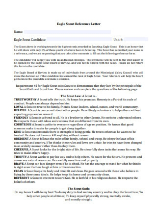 Eagle Scout Reference Letter