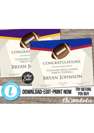 Editable Football Award Certificate
