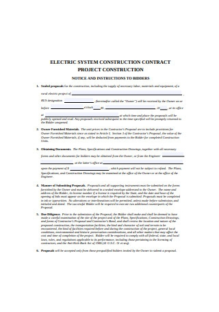 Electric System Construction Contract