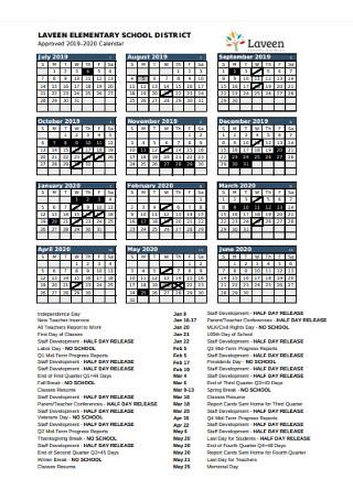 Elementary School Year Calendar