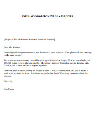 Email Aknowledgement of Job offer Letter