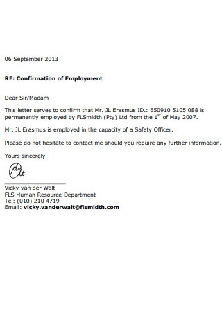 Email Confirmation of Employment