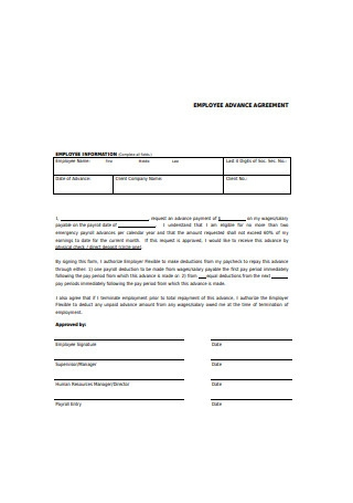 Employee Advance Agreement