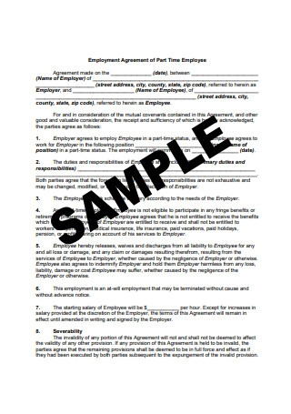 Employee Agreement Sample