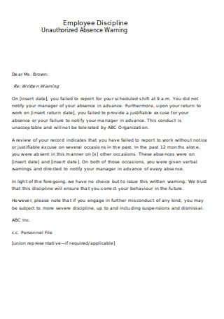 Employee Discipline Letter