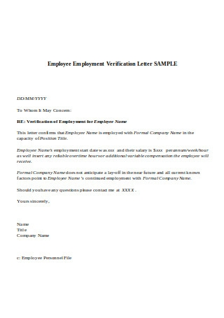 Employee Employment Verification Letter