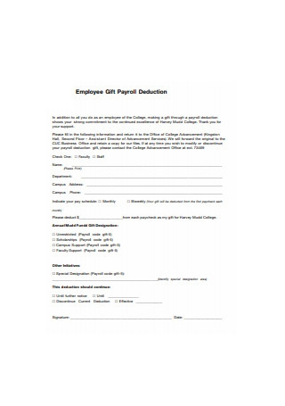 Employee Gift Payroll Deduction