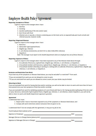 Employee Health Policy Agreement Format