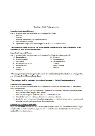 Employee Health Policy Agreement