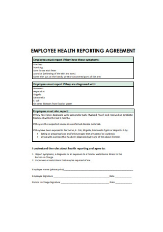 Employee Health Reporting Agreement