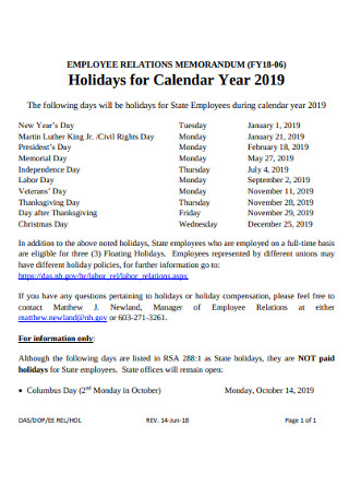 Employee Holidays for Calendar
