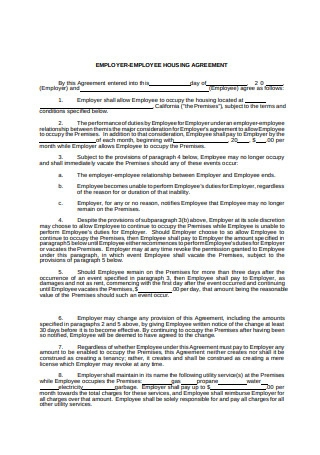 Employee Housing Agreement