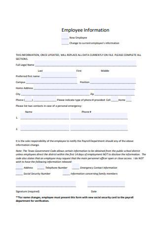 Employee Information Sample
