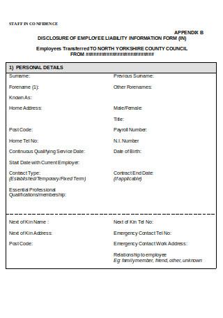 Employee Liability Information Form