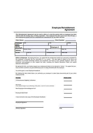 Employee Reinstatement Agreement