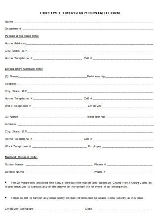 Employee and Emergency Contact Form