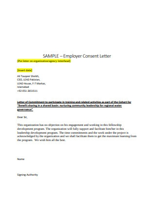 Employer Consent Letter Sample