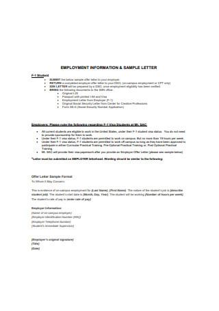 Employment Information Letter