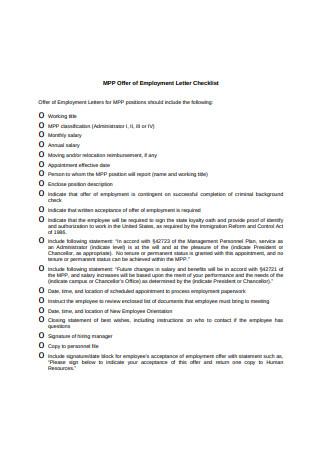 Employment Letter Checklist