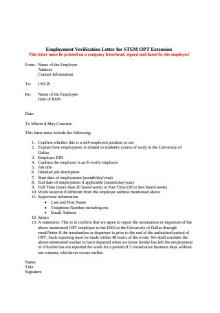 Employment Verification Letter Example