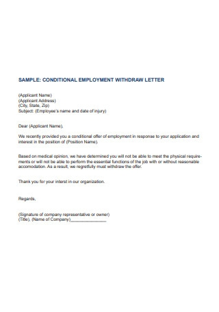 Employment Withdraw Letter