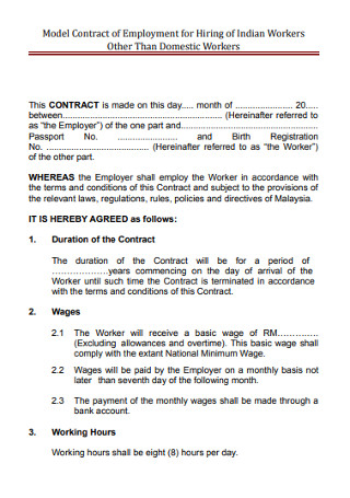 Employment Work Contract