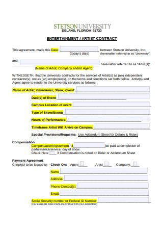 Entertainment Artist Contract
