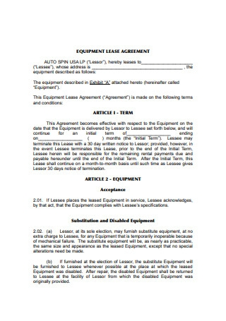 Equipment Lease Agreement Example