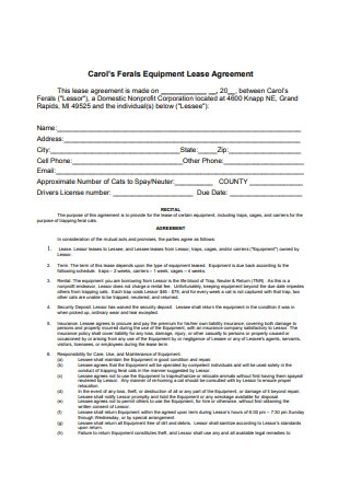 Equipment Lease Agreement Sample