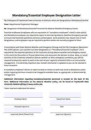 Essential Employee Designation Letter