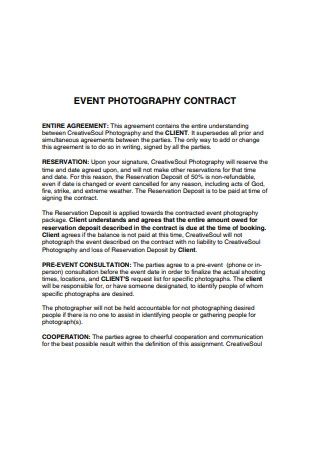 Event Photograph Contract Sample