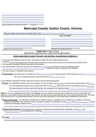 Eviction Action Notice Form