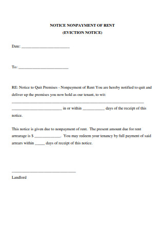 Eviction Non Payment of Rent Notice Form