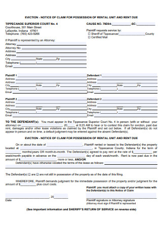 Eviction Notice Claim Form