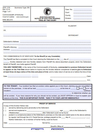 Eviction Notice Form Sample