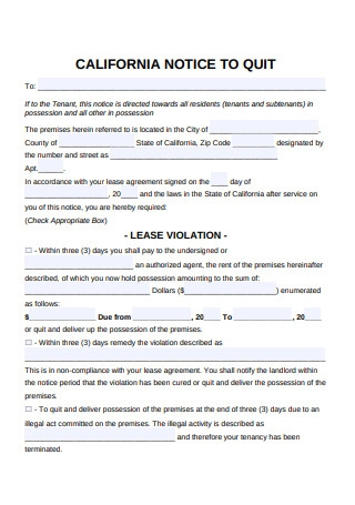 Eviction Notice Form for Lease Violation