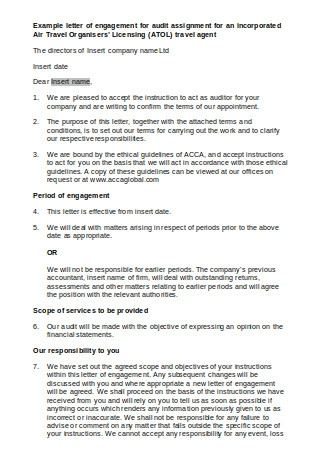 Example Letter of Engagement for Audit