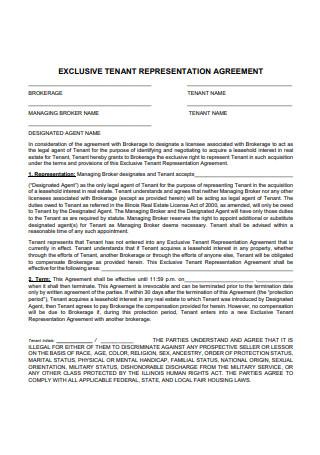 Exclusive Tenant Representation Agreement