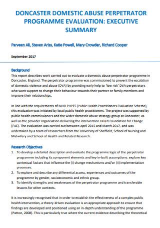 Executive Programme Evaluation Summary